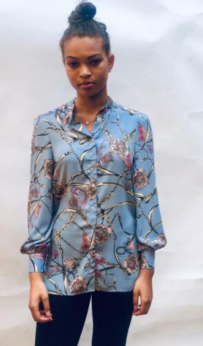 John Zack  Blouse Shirt Top In Chain Blue print