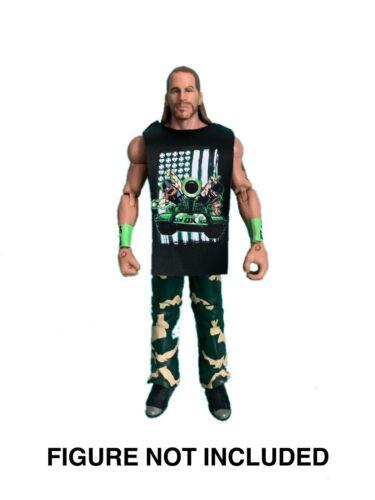 "Shawn Michaels /'DX WWE Hbk Ejército /""Personalizada derrocar Camisa para Mattel Figuras."