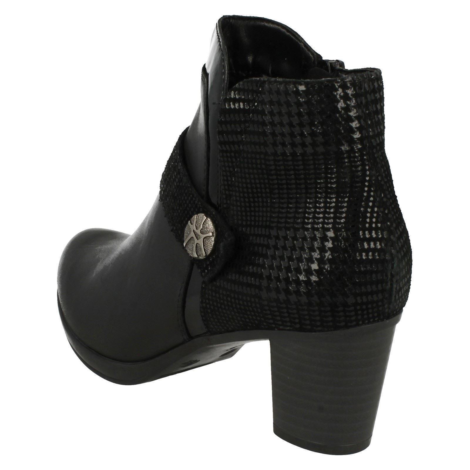 Damas Remonte R1571 Rojo o Negro Cuero Inteligente botas botas botas al tobillo con cremallera e1526b