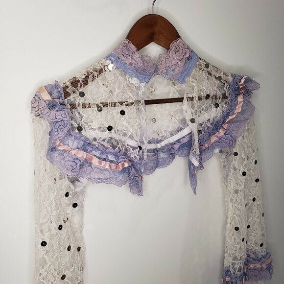 Handmade Lace Cover Fairycore White and Lilac Siz… - image 2