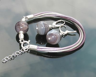 Agate Botswana Bead Purple Silver 925 Genuine Leather Bracelet Earrings Set