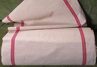 Vintage Rustic French Farmhouse Metis Linen Red Stripe Tea Towel Fabric Yard
