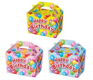Details About Happy Birthday Food Boxes Picnic Carry Meal Box Birthday Party Bag Plate