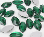 Sew On 13x22mm Crystal Rhinestone Navette Emerald Glass Jewels Faceted Bead