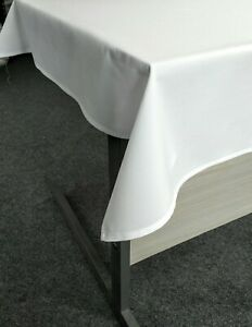 White Table Cloth 114x114cm Wedding Hotel Restaurant Polyester Linen Party