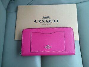 New-Authentic-Coach-F54007-Accordion-Crossgrain-Leather-Zip-Around-Wallet-fuscha