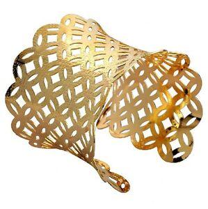 Armreif-Metall-Armspange-6-5-cm-breit-Armband-GOLD-farbig-Armreifen-NEU-BG76