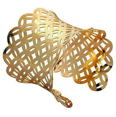 Armreif Metall Armspange 6,5 cm breit Armband GOLD-farbig Armreifen NEU BG76