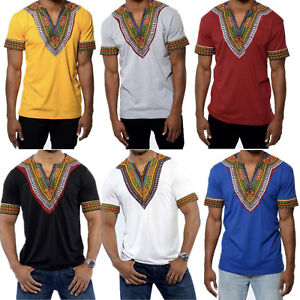 Mens-Hipster-Hip-Hop-Shirts-African-Dashiki-V-Neck-Elongated-Casual-T-shirt-Tee