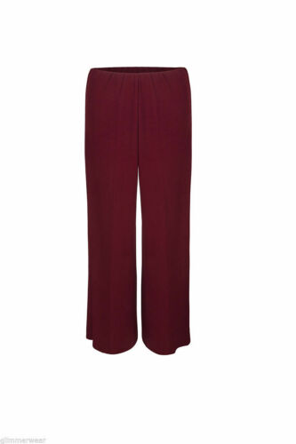 New Ladies Women Plain Crepe Palazzo Wide Leg Baggy Trousers Plus Sizes 14-22