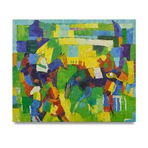 NY-Art-Abstract-Horse-Jockeys-at-the-Track-20x24-Oil-Painting-on-Canvas-Sale