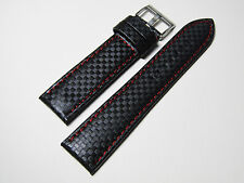 Hadley Roma MS847 22mm Red Genuine Leather Stitched Padded Watch Band