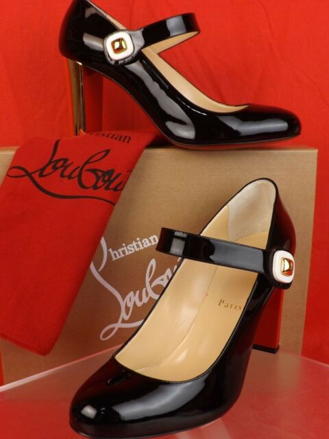 Auth Christian Louboutin Bibaba 85 Patent Mary Jane Pumps Black 39