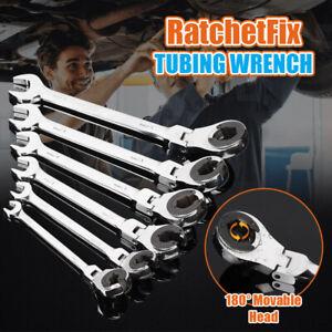 8-19mm Tubing Wrench Ratchet Flex Set-Head Metric Oil Flexible Open End-Wrench