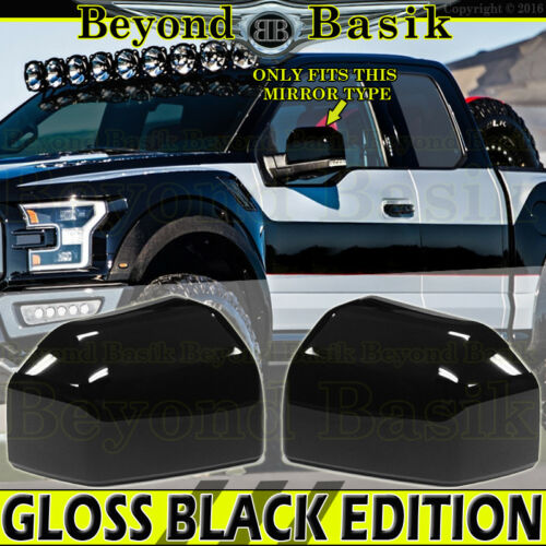 Mirror Covers Overlays for 2015 2016 2017 2018 2019 Ford F150 F-150 GLOSS BLACK