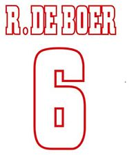R. DeBoer #6 Ajax 1997-1998 Home Football Nameset for shirt