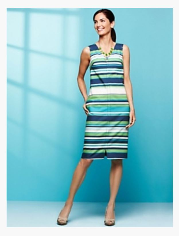 NWT 159 TALBOTS COTTON BLEND STRIPED FULLY LINED SLEEVELESS DRESS 2,4,6