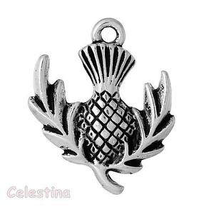5 scottish thistle charms antique silver pendants beads plants image is loading 5 scottish thistle charms antique silver pendants beads aloadofball Images