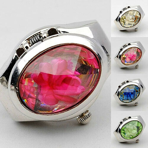 Women Fashion Luxury Rhinestone Ring Watch Oval Cover Mini Quartz Watch Braw Jewellery & Watches