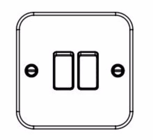 Knightsbridge Metal Clad 10A 10 Amp 2 Gang 2 Way Double Light Switch M3000 MC