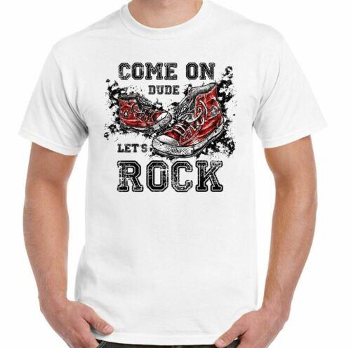 Let/'s Rock T-Shirt Venir Auf Dude Herren Lustig Retro Baseballstiefel V Fest Gig