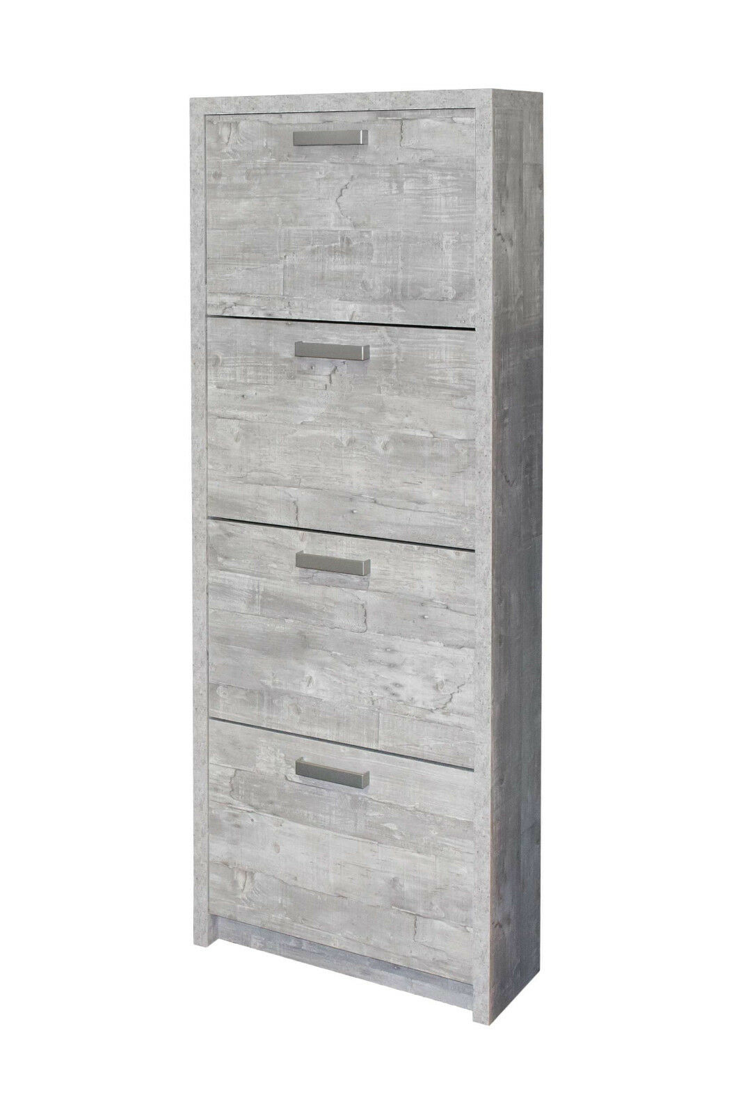 Madita - Scarpiera con 4 porte, in legno truciolato, Coloreeee cemento d'imitazione