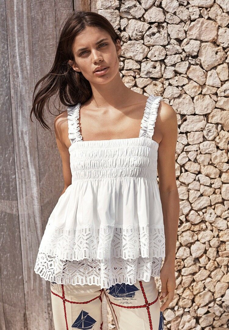 Tory Burch Weiß  Georgette Eyelet Top 2 XS  Runway Spring 2017 Garden Party