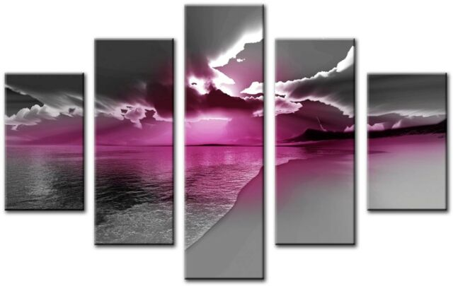ZETA 5p Pink Plum Large Wall Art Canvas Print Artwork Framed Home ...