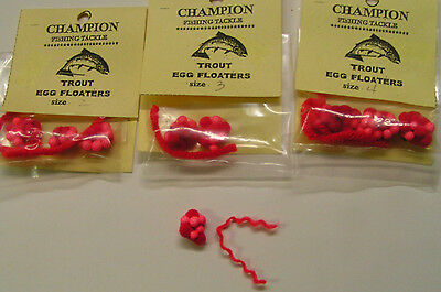 TROUT EGG FLOATERS 3 per SIZE RED TROUT /& SALMON BAIT