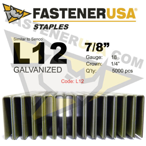 """fits Hit//Sen L Staples L12 Galvanized 18 gauge 1//4/"""" crown 5M 7//8/"""" length"""