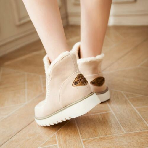 Women/'s Winter Warm Suede Ankle Snow Boots Fur Thicken Flats Casual Shoes KS
