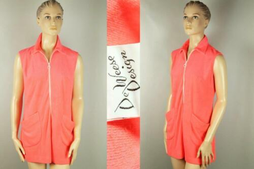 Vtg DE WEESE DESIGN Swim Sun Fashions Neon Pink Te