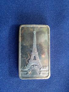1974-Jacques-Cartier-Mint-Eiffel-Tower-Paris-France-Unlisted-Silver-Bar-E5321