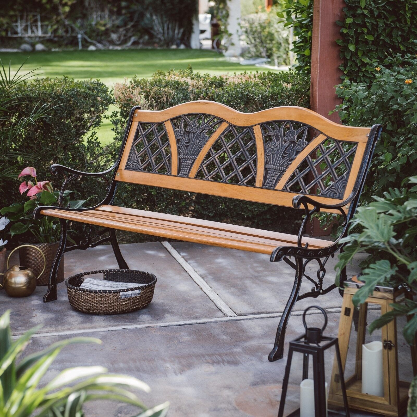 Details About Wooden Metal Double Garden Bench Antique Vintage Curve Back Outdoor Yard Patio