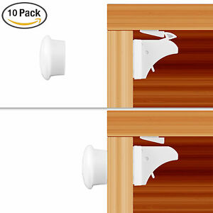 baby safety magnetic cabinet locks child proof cupboards drawers invisible 10pcs ebay. Black Bedroom Furniture Sets. Home Design Ideas