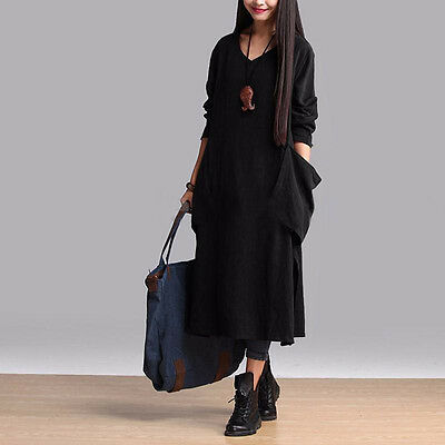 Women Oversized Crew Neck Long Shirt Dress Kaftan Maxi Dresses Plus Size L-4XL