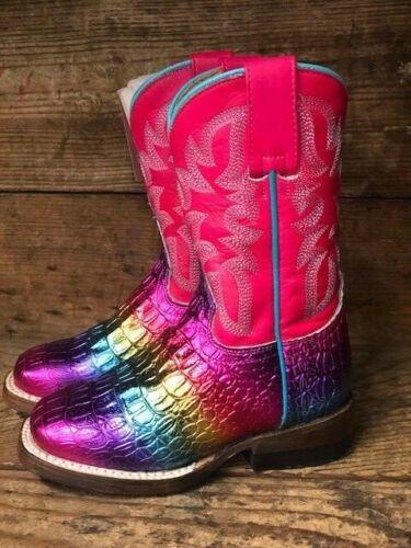 Roper Kids Rainbow Embossed Caiman Print Square Toe Western Boots 7020-0765