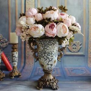 Neu 1 X Kunstlich Silk Pfingstrose Blumen Fur Haus Hochzeit Party