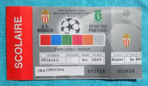 TICKET FOOT UEFA CHAMPIONS LEAGUE AS MONACO - SPORTING PORTUGAL 1997