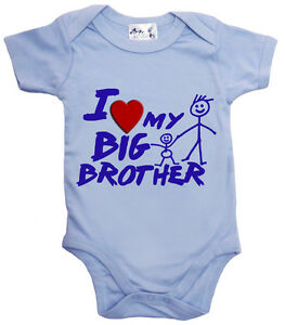 "Dirty Fingers ""I Love Heart My Big Brother"" Bodysuit Babygrow Baby Clothes Gift"