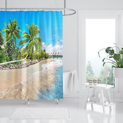 Painstaking 3d Tropical Beach 77 Shower Curtain Waterproof Fiber Bathroom Windows Toilet Home & Garden