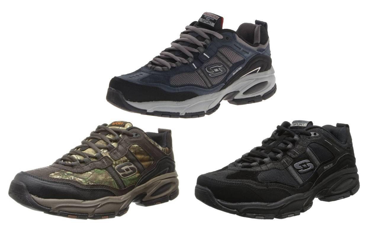 SKECHERS Men's Flexible Trail   Cross Training Sneakers in Blk, Brn Camo & Navy