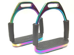 "MULTI// RAINBOW 4.75/"" SAFETY STIRRUPS HORSE RIDING BENDY IRONS STAINLESS STEEL"