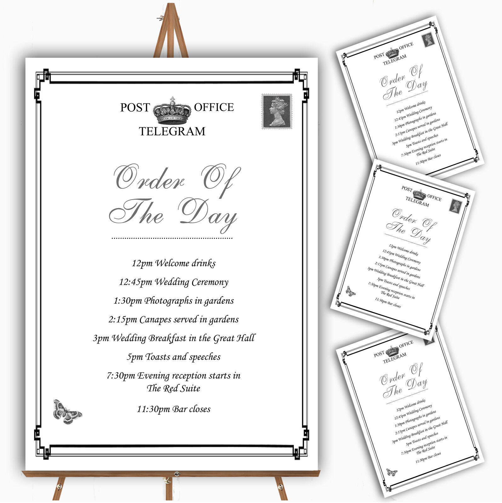 Vintage Telegram Elegant Weiß Personalised Wedding Order Of The Day Cards