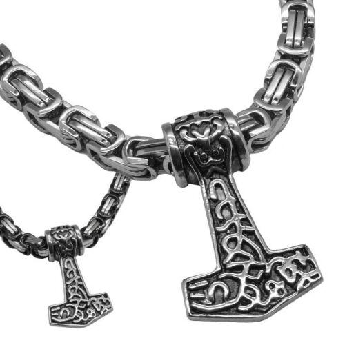Eine Anhänger Thorshammer Königskette Edelstahl Mjölnir Mjöllnir Thors Hammer