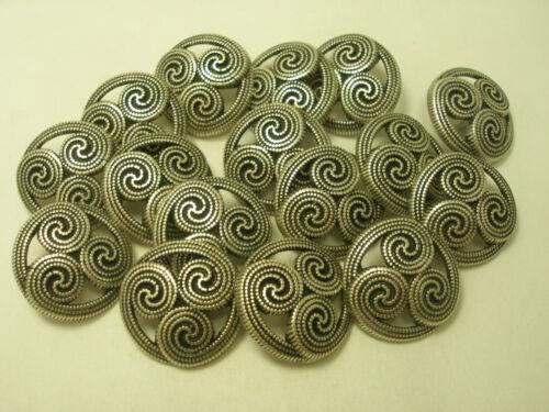 New lots of Italian Fancy Silver Metal Buttons sizes 5//8,3//4,7//8 /& 1 1//16  #S12