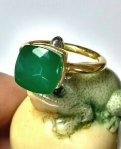 Gruener-Onyx-Ring-925-Silber-vergoldet-Gr-56