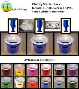 CHARITY-COLLECTION-DONATION-BUCKET-BOX-TIN-POT-MULTI-PACK-LIDS-LABELS-SEC-TIES