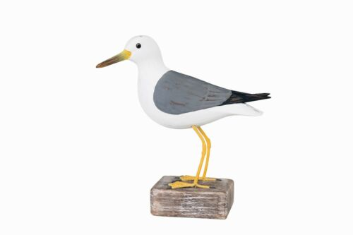 Archipel de main en bois sculpté oiseaux Goéland Cendré debout