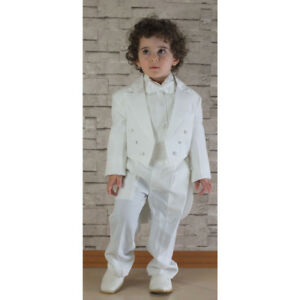 5e8a66886 Boys Ivory Cream Tuxedo Tail Suit 5 Piece Christening Baptism ...